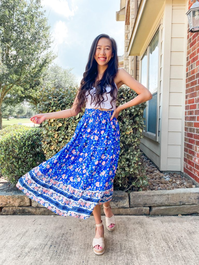 blue midi skirt outfit