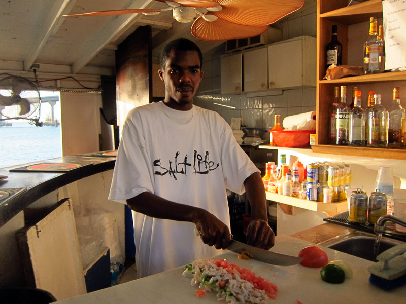 Chef Azure making conch salad