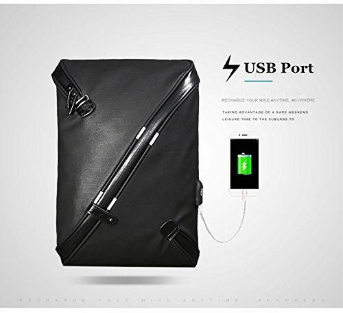 Bolsos Bandolera para Hombre con USB - Mochila bandolera con USB (Negro) 4