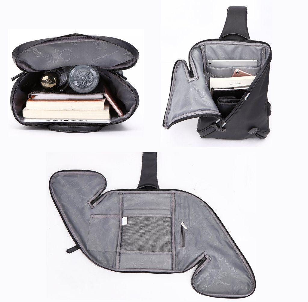 Bolsos Bandolera para Hombre con USB - Mochila bandolera con USB (Negro) 3