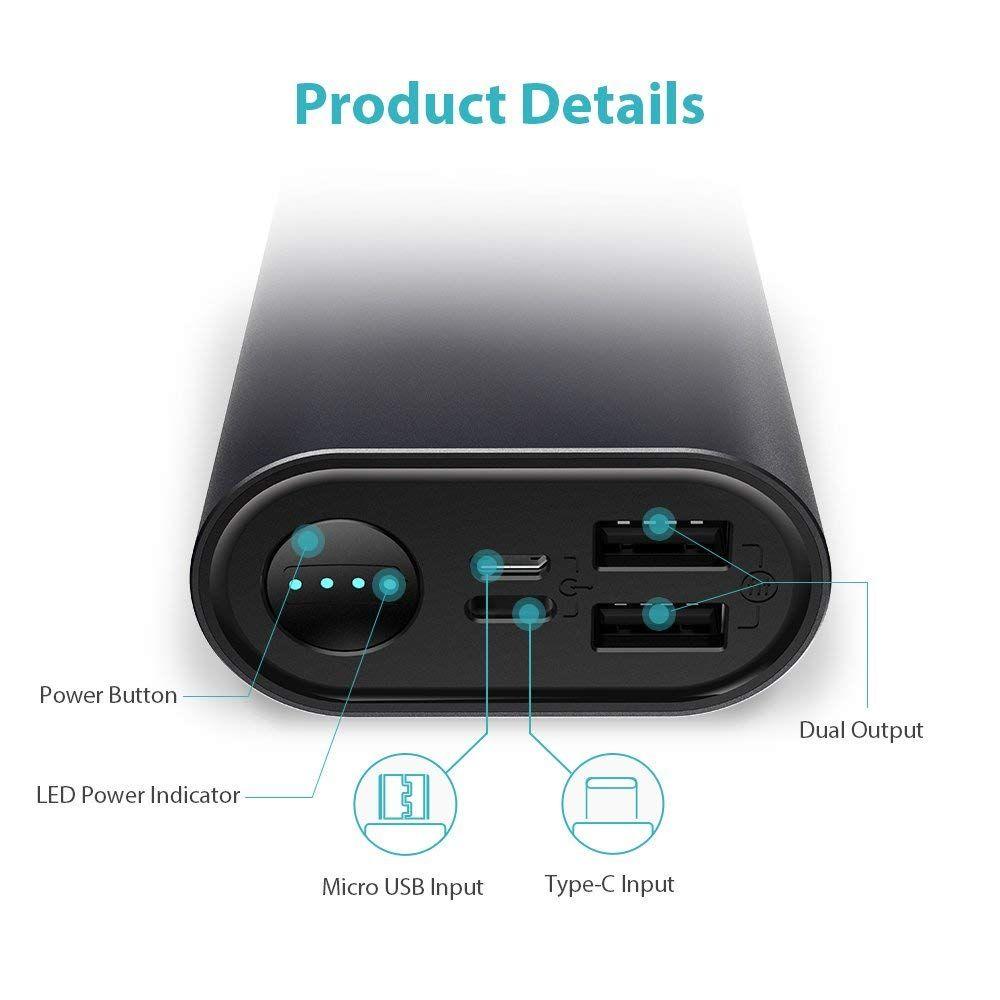 batería externa negra