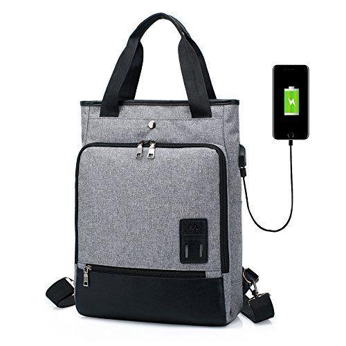 mochila de color gris con usb