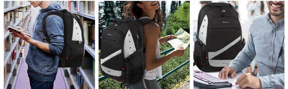 Mochila Escolar para Portátil con USB. Varias personas llevando una mochila con carga usb de BYM