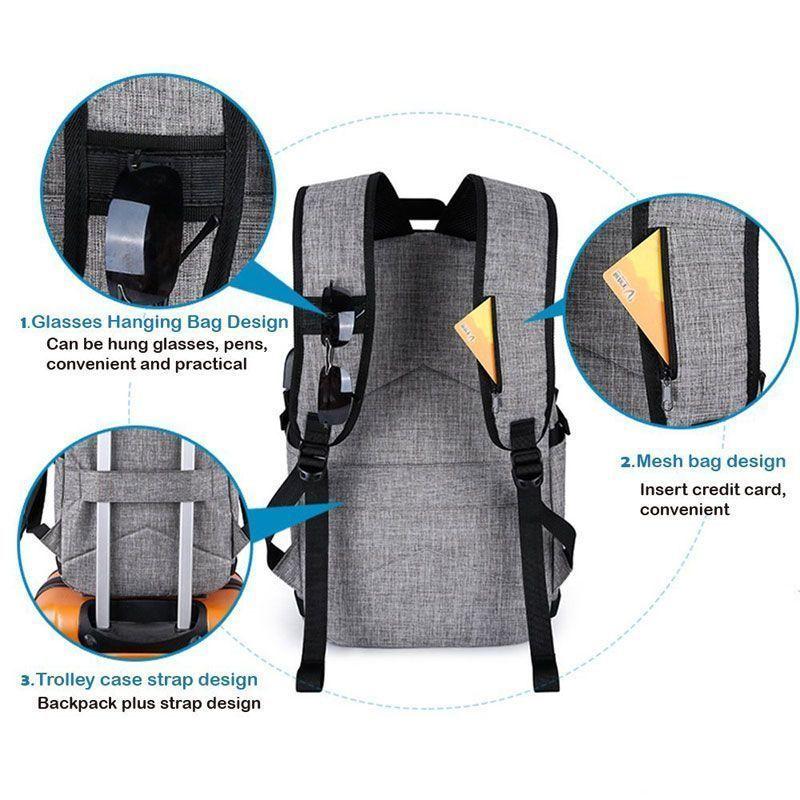 BYM Detalle de una mochila gris con USB yo conector pra auriculares. tusbolsosymochilas.com
