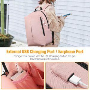 Chica con mochila | Mochila Inteligente con Puerto de Carga USB - FINPAC 3 color rosa