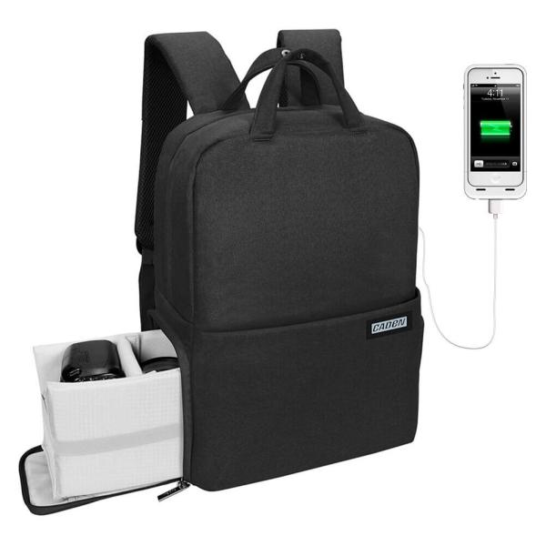 Mochila Cámara Réflex con USB y Diseño Antirrobo CADEN (4)