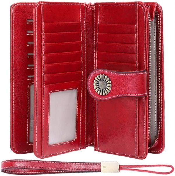 Cartera Cuero Mujer Bloqueo RFID Monedero Piel Mujer Grande con Muchos Bolsillos, Billetera Larga Mujer con Cremallera (3)