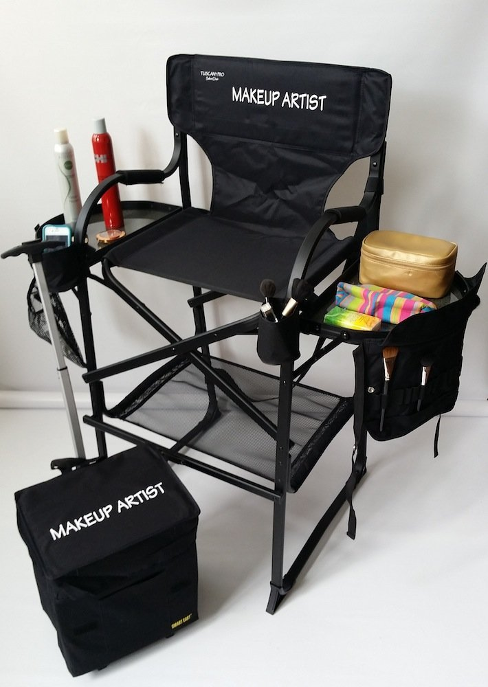 makeup chairs amazon chair covers and bows the award winning tuscany pro tall artist portable deluxe combo 29 seat height carry bag included