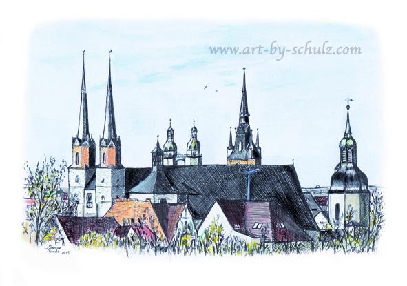 7 Türme, farbig, Halle (Saale), Sabine Schulz, Tusche, Tusche Verlag, Zeichnung