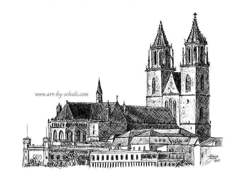 Magdeburg, Dom, Sabine Schulz, Tusche, Tusche Verlag, Zeichnung