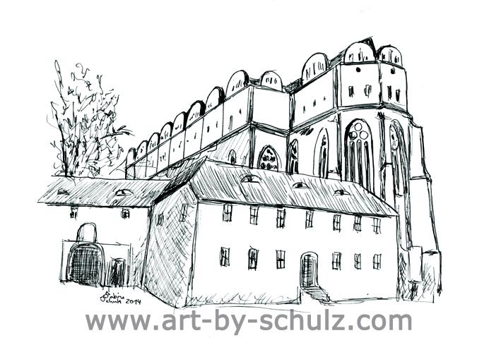 Dom, Halle (Saale), Sabine Schulz, Tusche, Tusche Verlag, Zeichnung