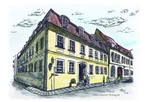 Händelhaus, farbig, Halle (Saale), Sabine Schulz, Tusche, Tusche Verlag, Zeichnung