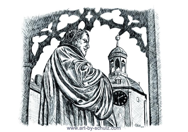 Luther, Lutherstadt Wittenberg, Sabine Schulz, Tusche, Tusche Verlag, Zeichnung