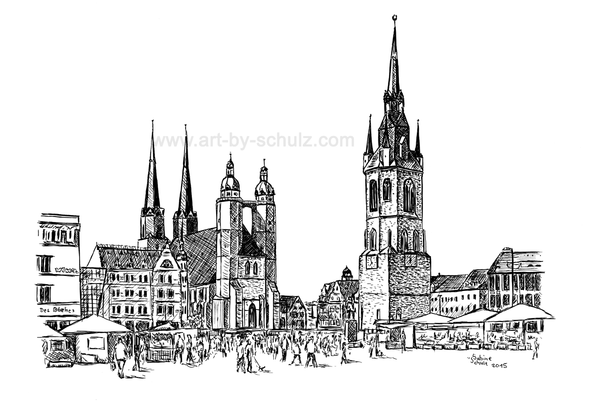 Markt, Halle (Saale), Tusche, Tusche Verlag, Sabine Schulz
