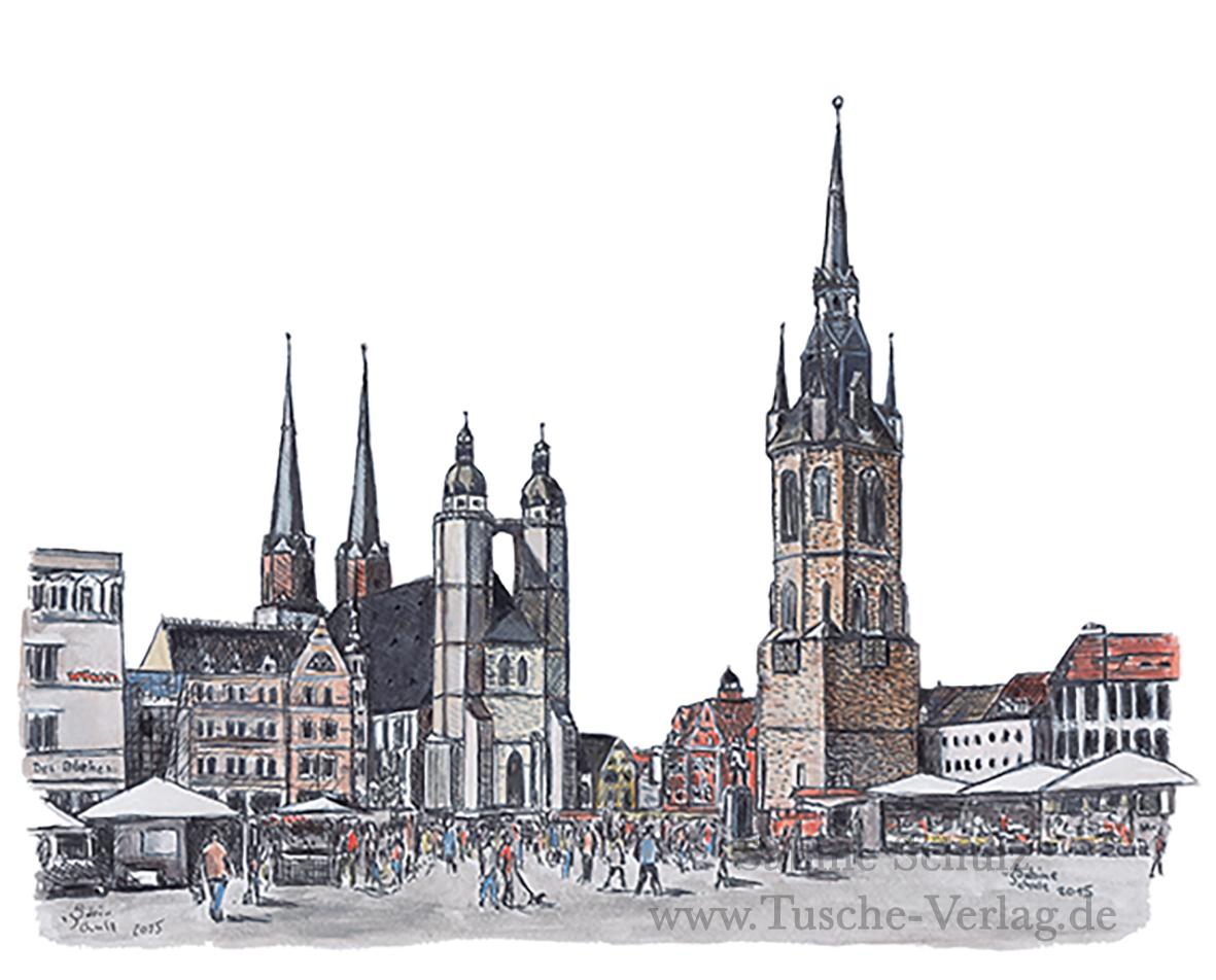 Markt, farbig, Halle (Saale), Sabine Schulz, Tusche, Tusche Verlag, Zeichnung