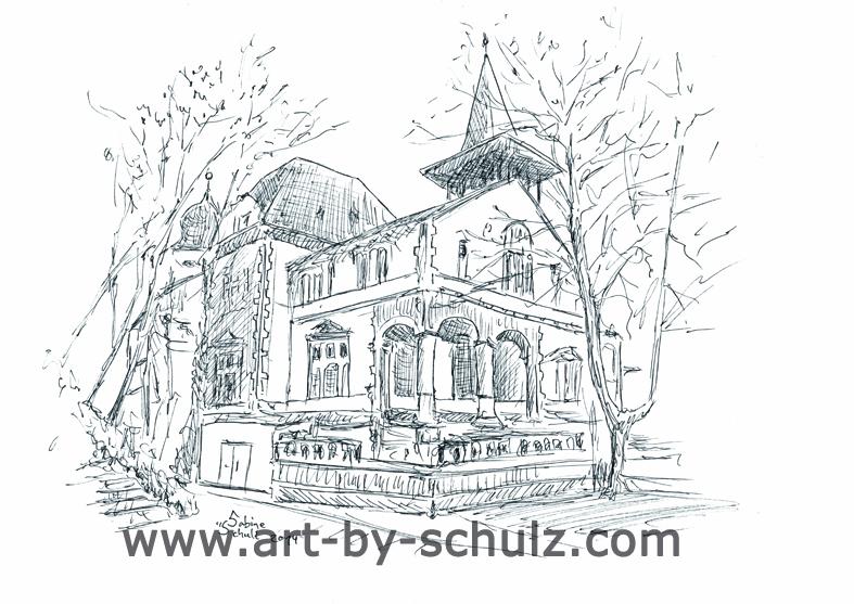 Peißnitzhaus, Halle (Saale), Sabine Schulz, Tusche, Tusche Verlag, Zeichnung