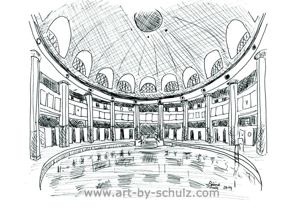 Frauenbad/Stadtbad, Halle (Saale), Sabine Schulz, Tusche, Tusche Verlag, Zeichnung