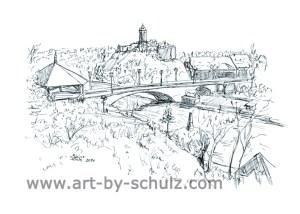 Kröllwitzer Brück und Burg, Halle (Saale), Sabine Schulz, Tusche, Tusche Verlag, Zeichnung
