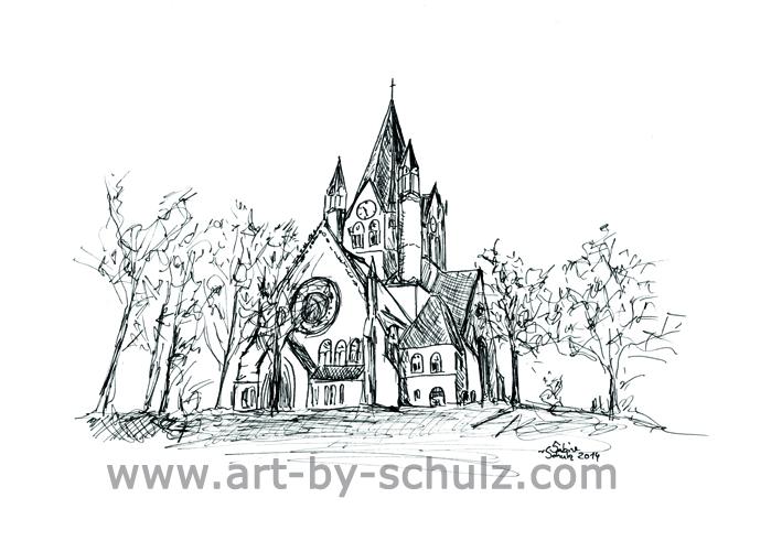 Pauluskirche, Halle (Saale), Sabine Schulz, Tusche, Tusche Verlag, Zeichnung