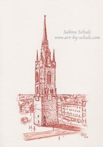Roter Turm, Halle (Saale), Sabine Schulz, Tusche, Tusche Verlag, Zeichnung