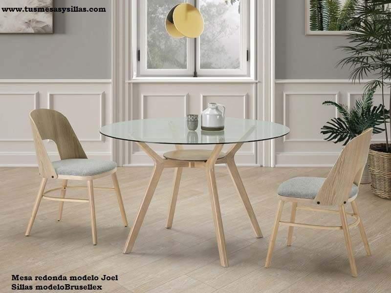 table ronde en verre transparent et bois de 120 cm