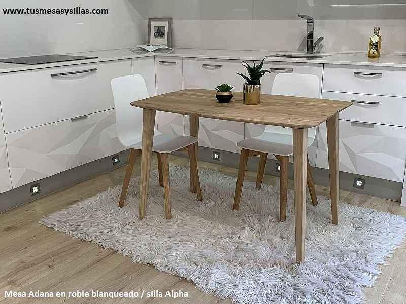 table adana fixe de style nordique avec plateau en bois massif