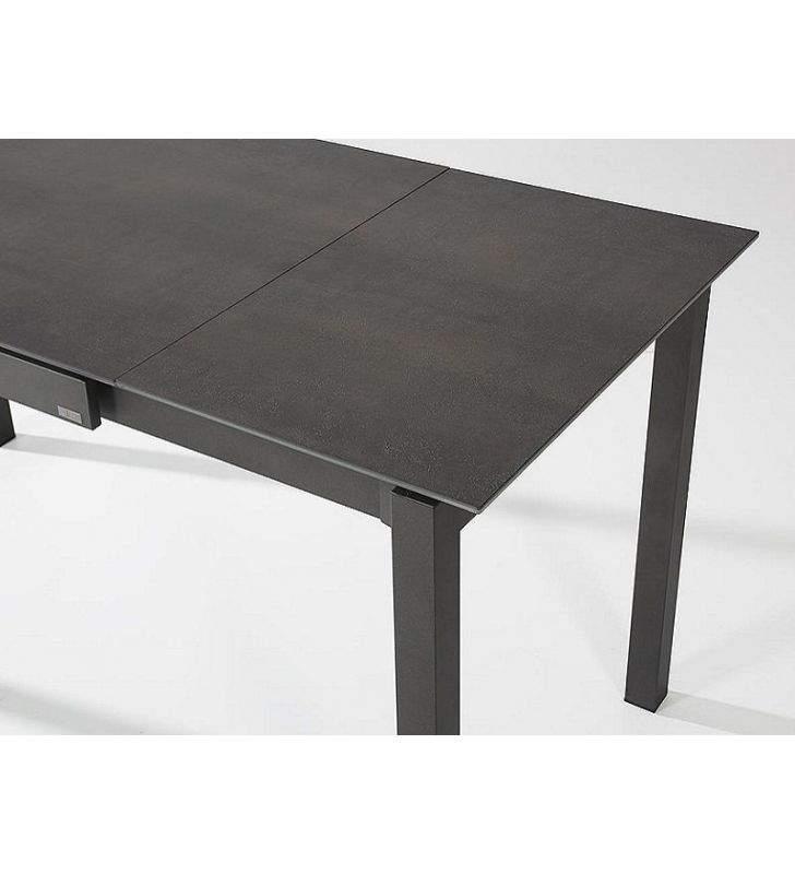 table extensible comptoir haut celeste meme plateau verre ou ceramique