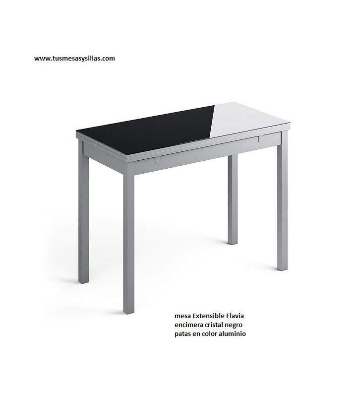 table etroite flavia plateau en verre avec 2 facades extensibles