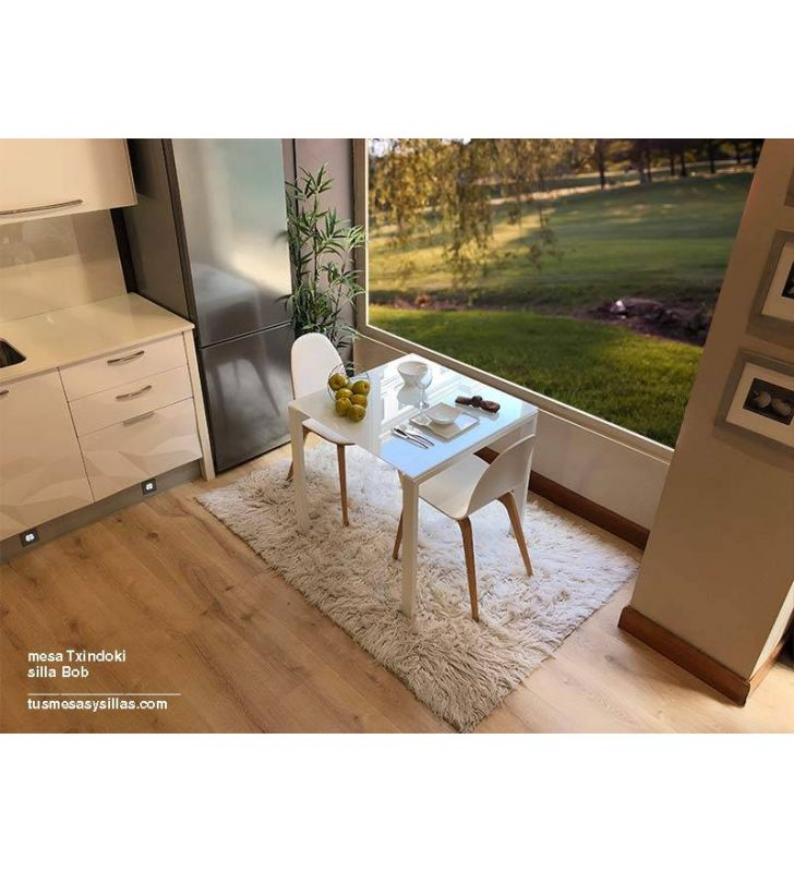 table extensible txindoki en mesure carree de 90x90 cm
