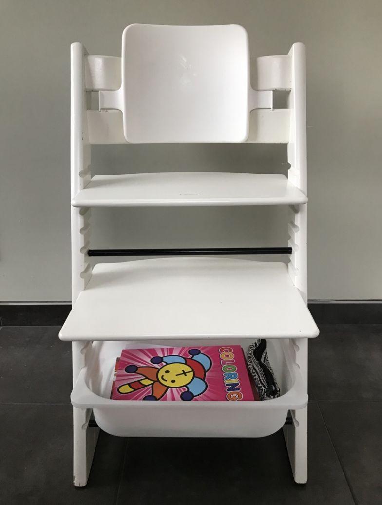 Stokke Tripp Trapp hack: Ikea Trofast opbergbak onder de kinderstoel