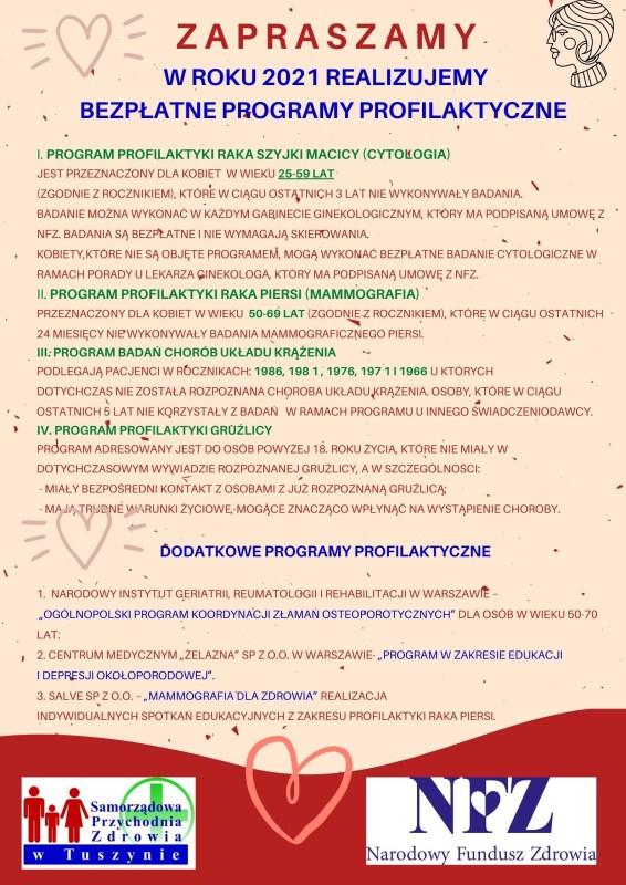 Programy profilaktyczne w SPZ w Tuszynie