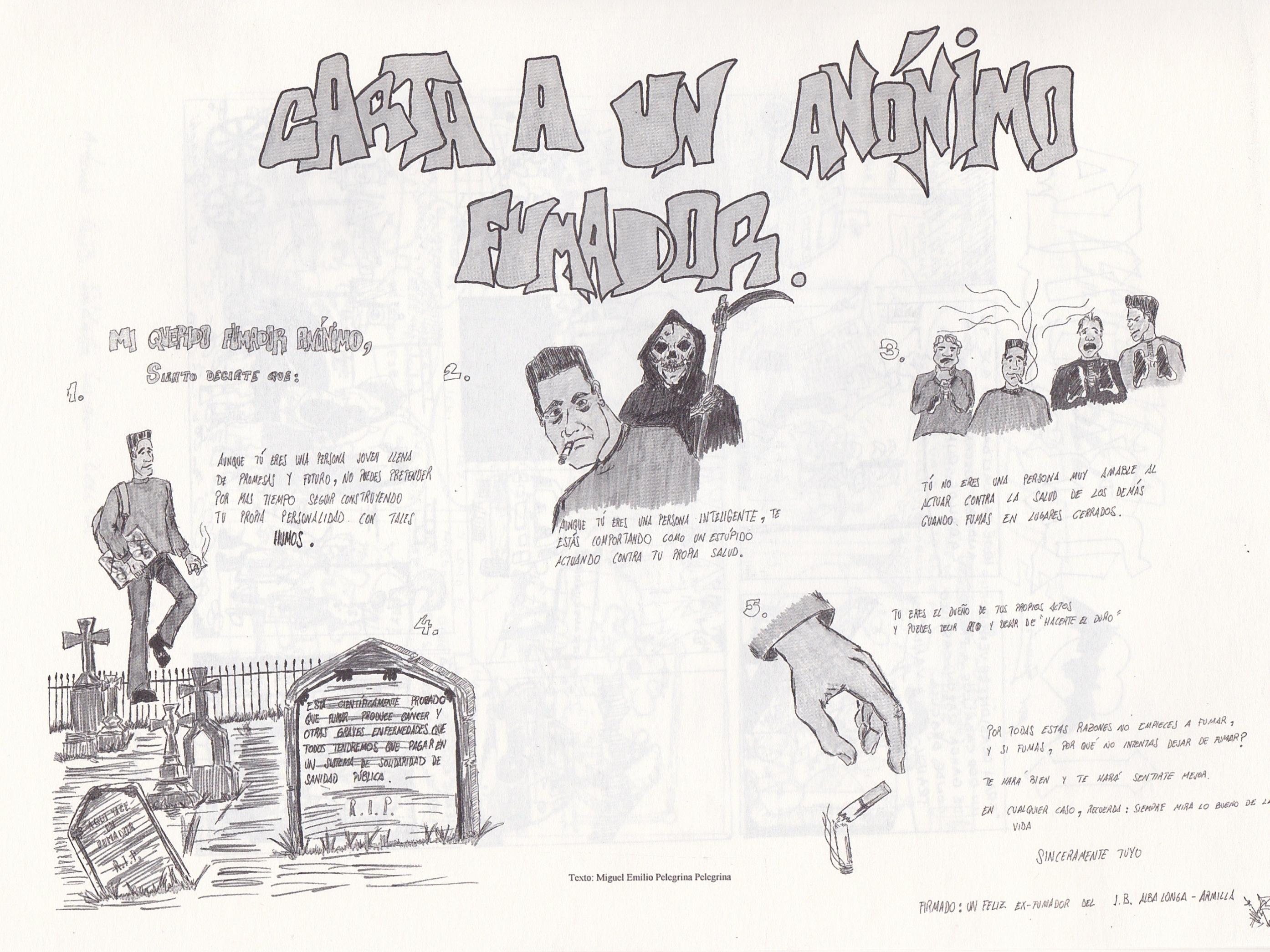 """""""CARTA A UN ANÓNIMO FUMADOR"""", de alumno anónimo. TEXTO: Miguel Emilio Pelegrina Pelegrina"""