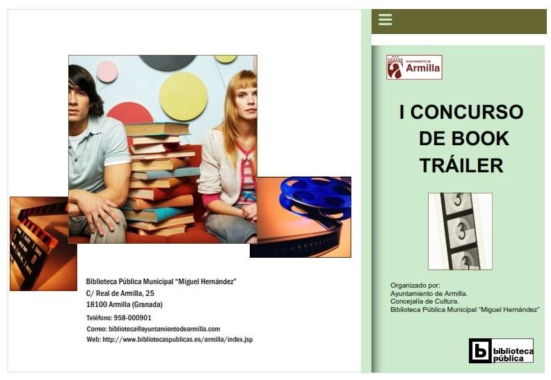 Díptico donde se publicaba la Convocatoria del I CONCURSO BOOK TRÁILER.