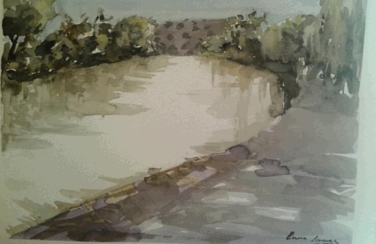 """""""Esta acuarela fue pintada en Castilla y León mientras participaba en un concurso de pintura. Aproveché el tiempo de almorzar para pintarla. Muestra el río Tajo"""" (Lumi Show)."""