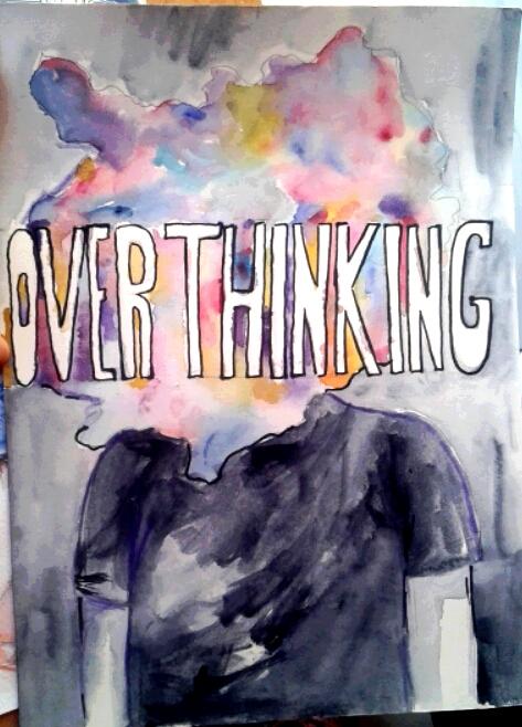 """""""Para hacer este dibujo me inspiré en un pequeño cómic  que vi en Internet. En él se veía un chico que, al enfadarse, le explotaba la cabeza. Algo así simboliza este dibujo. La palabra ''Overthinking'' en español significa ''pensar demasiado'' y, al hacer esto, nuestros pensamientos  ''explotan'' dentro de nuestra mente y nos confunden"""" (Lumi Show)."""