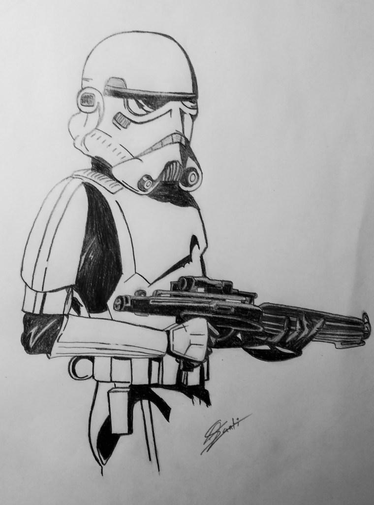 """""""Stormtrooper o soldado imperial. De """"Star Wars"""", mi película preferida. Está sacado de un comic  y es de los dibujos que más me gustan"""" (Santiago)."""