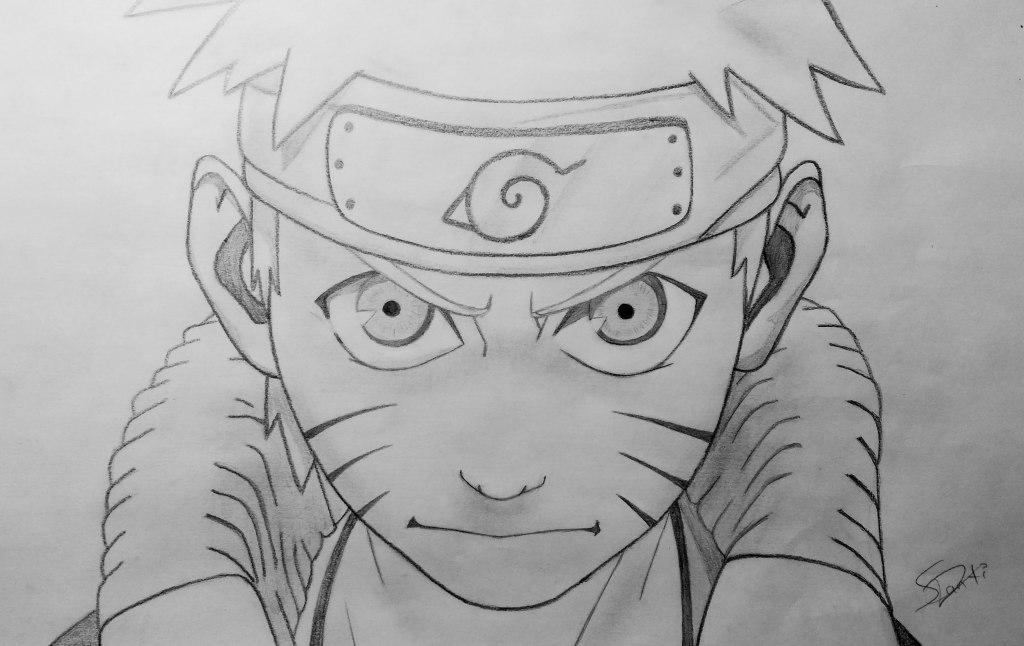 """""""Naruto,, el protagonista de la serie de su mismo nombre. Este dibujo lo hice hace un año y es mi dibujo preferido porque es de los que me he esforzado más. Me gustaría colorearlo pero no me atrevo ya que me encanta como quedó"""" (Santiago)."""