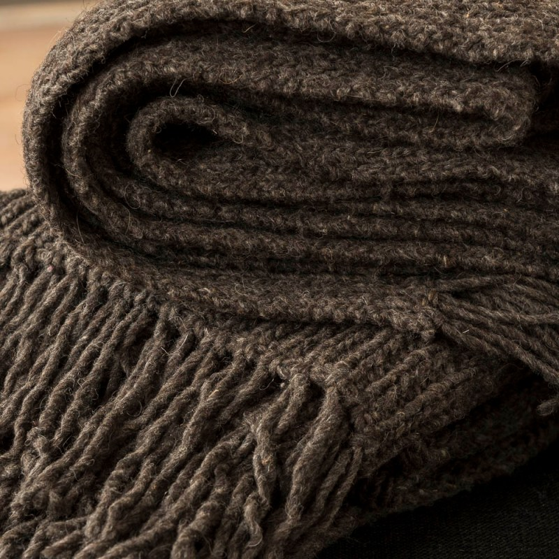 Close-up of two Tutamanta handmade wool blankets in dark grey folded on top of each other