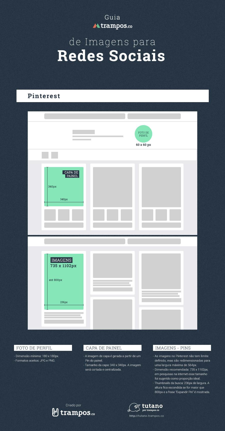 Guia trampos de tamanhos de imagens para mídias sociais: Pinterest
