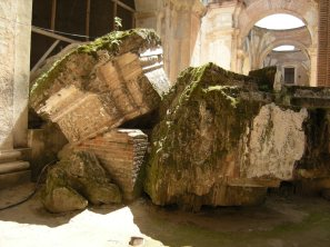 Toppled pillars lie inside the ruins of the cathedral in Antigua.