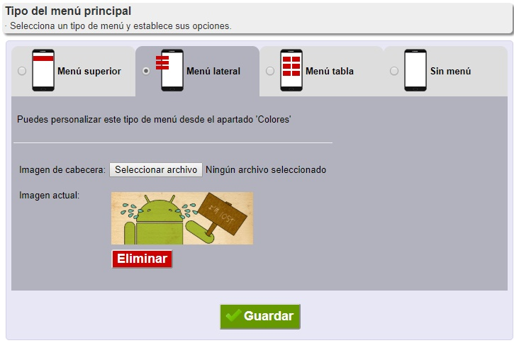 menu de la aplicacion