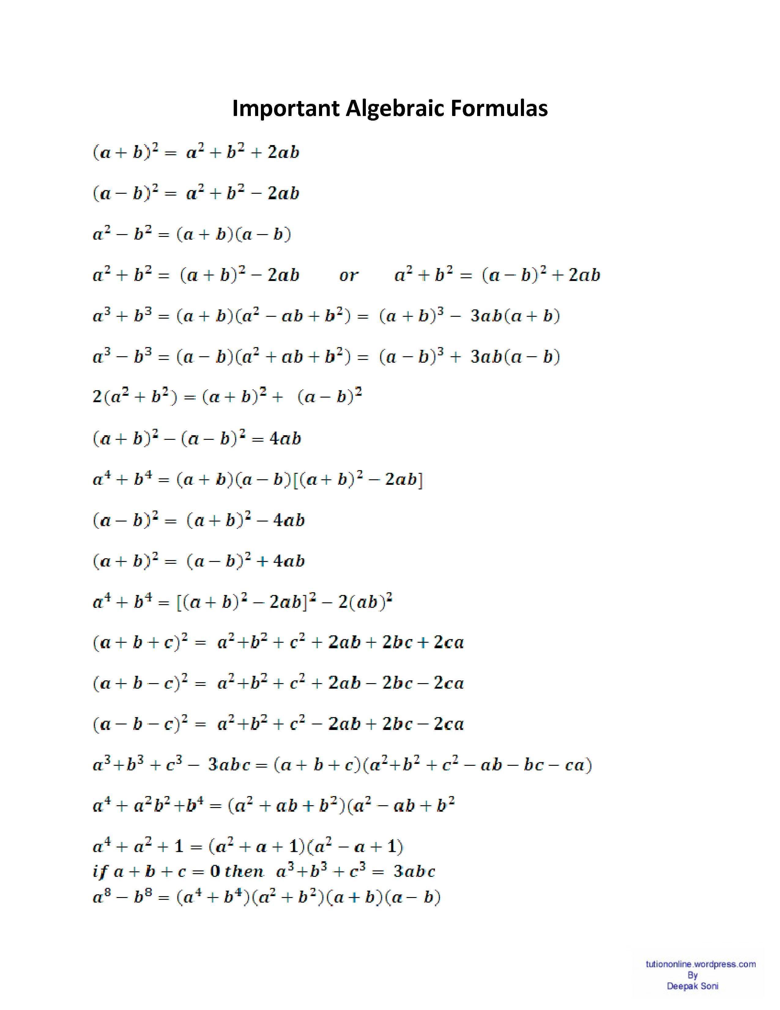 Basic Algebraic Formulas