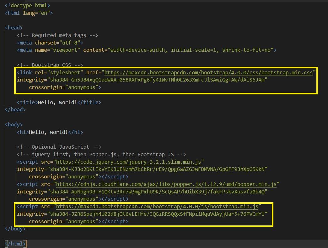 Pegar plantilla de Bootstrap en fichero index.js