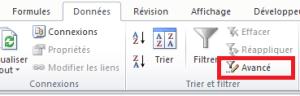 menu Excel filtre avancé tableau