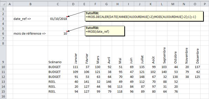 base fichier mise à jour excel date référence