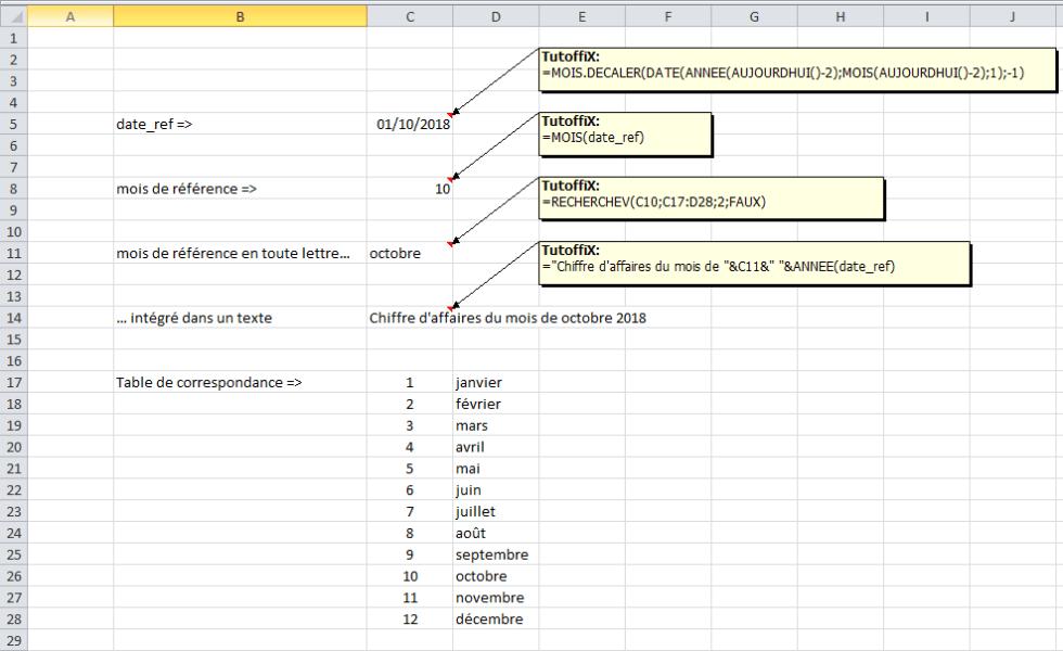 calcul date référence Excel mise à jour automatique fichier