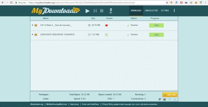 Le Web Interface de JDownloader