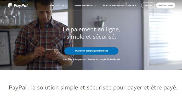 Page d'accueil de PayPal !