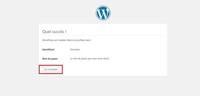 Vous venez d'installer WordPress avec succès !