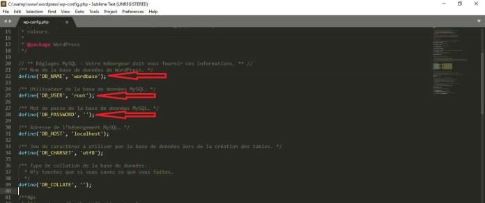 Modifiez le fichier WP-Config